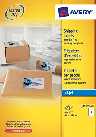 Avery J8169-100 Parcel/Shipping Labels, Self-Adhesive - 4 Labels Per A4