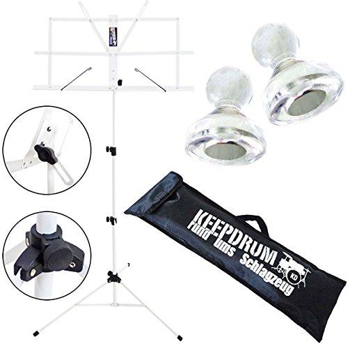 KEEPDRUM MUS2WH Notenständer Weiss + Notenpult Magnete 10Stk + Tasche