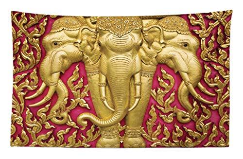 ABAKUHAUS Elefante Tapiz de Pared y Cubrecama Suave, Motivo de Elefante en Tonos Amarillos Puerta Templo Thai Espiritualidad Estatua, Fácil de Lavar No Destiñe, 230 x 140 cm, Fucsia