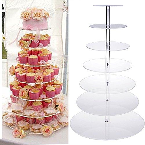 7 Etagen Tortenständer Hochzeit Geburtstag Party stabil, Qulista Hochzeitstorte Tortenständer Etagere aus glasklarem Acryl (7 stöckig)