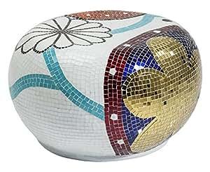 Kare Hocker Mosaik Garden Round Medium MOEBEL Glas weiß, rot, blau, Gold 50 x 58 x 35 cm