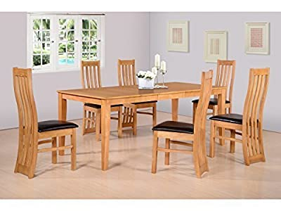 Seconique Ainsley Extending Dining Set in Oak - Extendable Dining Table & 6 Dining Chairs - low-cost UK dining table shop.