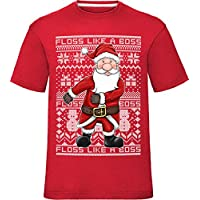 "laylawson Kids Festive Christmas Santa Floss Like A Boss Fair Isle Pattern Childrens T Shirt Red 7-8 Years (Chest 32"")"