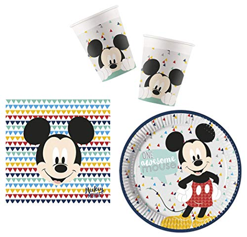 Party-Geschirr Set Disney Micky Maus - Teller Becher Servietten (16 Personen)