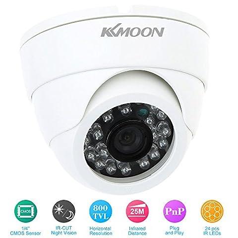 KKmoon 800TVL CCTV Caméra de sécurité intérieure 24 LED Grand Angle couleur IR CUT Surveillance Dôme Infrarouge