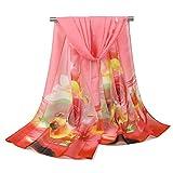 hmilydyk Damen Pretty Floral Chiffon Schals Romantic Rose Print Schal leicht Beach Wraps für Strand und abends rot