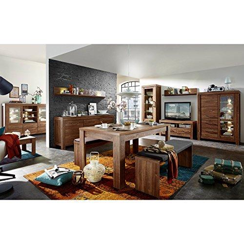 Wohnzimmer & Esszimmer Set in Akazie dunkel