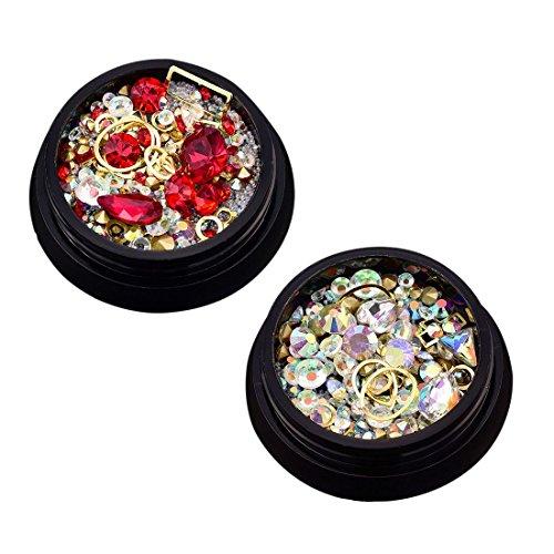 TOOGOO 2 boites 3D Bijoux a ongles Pointe acrylique melangee coloree Strass Manucure Bricolage Decoration d'art d'ongle (Gros rouge; Diamant en forme de AB blanc 1 chacun)