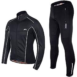 Asvert Maillot de Cycliste à Manche Longue Veste Pantalon Chaud Coupe Vent Combinaison Cycliste Vélo VTT Vêtements Réspirant Etanche Hiver pour Homme