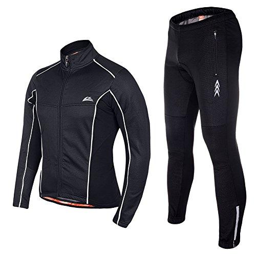 Asvert Männer Radfahren Jersey mit 4D Spezielle Kissen Sitzpolster Fahrrad tragen Breathable Komfortable Herbst und Spring Cycle Outdoor (Regen-trägerhose Atmungsaktive)