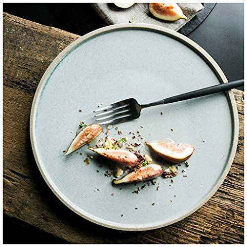 ZHUZHU Assiette de style européen Assiette à dîner Ménage Marché de glaçure au sésame Marché Des céramiques créatives Vaisselle Plaque de nourriture occidentale Plat à steak Assiette à salade Assiette