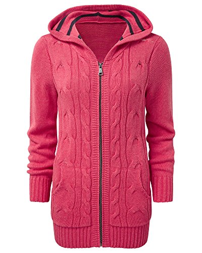 Cotton Traders Womens Ladies Hooded Cable Cardigan Knitwear
