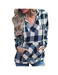 Damen Langarmshirts-Beikoard Damen Langärmliges Kapuzenshirt mit Kapuze-Mode Frauen Pullover T-Shirt Plaid Hoodie Langarm