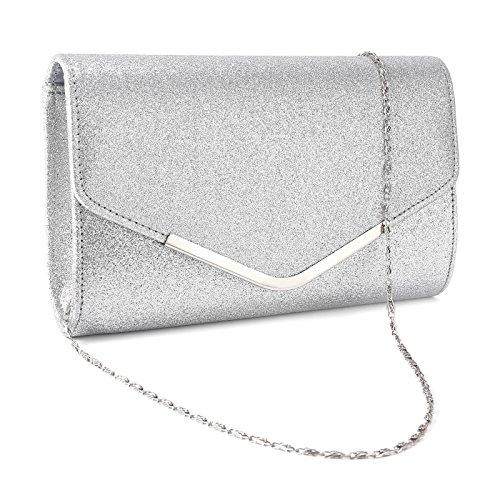 1 Silber-handtasche (Mit umklappende Dekel Clutch Handtasche Abendtasche Umhaengetasche silber)