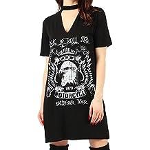 Friendz Trendz-Ladies Born to Be Rock Star Rock N Roll Choker Neck Biker Tops