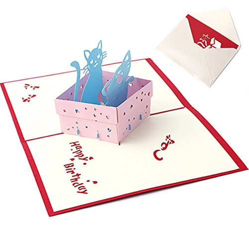 CUIGU 3D Pop-Up-Papier-Grußkarte, blanko, handgefertigt, Postkarte, Geburtstag, Einladungskarte, Geschenk – Katzen-Box