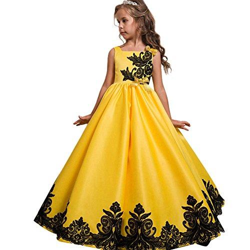 OBEEII Festlich Mädchen Kleid für Kinder Prinzessin Spitzen Kleider Hochzeit Blumenmädchenkleid 11-12 Jahre
