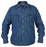 Hommes Duke Western Style Chemise en Jeans Avec Bouton Pression Boutons - Black Blue - Bleu Délavé, X-Large