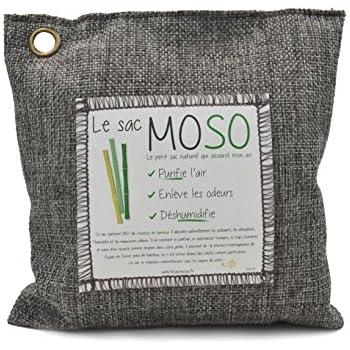 Le Sac MOSO - Purificateur d'air, Désodorisant, Absorbeur d'humidité, Naturel et sans odeur au Charbon de Bambou - 200 Gr - Charbon