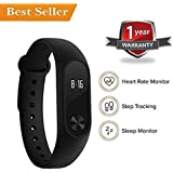 Teconica A2 Smart Fitness Band With Heart Rate Sensor Monitor OLED Display V4.1 Bluetooth, Pedometer, Sleep Monitoring Functions, Waterproof And Health Activity Fitness Tracker Wristband For All Latest Handsets - Black