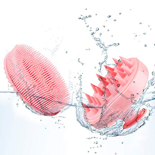 Hair Scalp Massager Shampoo Brush (2 Pack), Soft Silicone Scalp Shampoo Brush [Wet & Dry] for Scalp Massage, Hair Stimulation and Skin Exfoliation