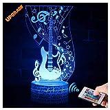 3D E Gitarre Lampe LED Nachtlicht mit Fernbedienung, USlinsky 7 Farben Wählbar Dimmbare Touch Schalter Nachtlampe GeburtstagGeschenk, FroheWeihnachten Geschenke Für Mädchen, Männer, Frauen, Kinder