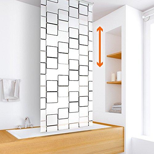 Aquamarin®–tenda a rullo per doccia per fissaggio sul soffitto, motivo cubi, 4anchuras a scelta