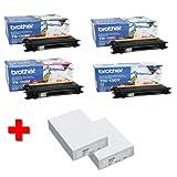 Brother MFC-9450 CDN original Tonerkit (TN-130) TN-130BK (schwarz) / TN-130C (Cyan) / TN-130Y (gelb) / TN-130M (magenta) + 2 x 500 Blatt Laserpapier DIN A4 - 80g/m²