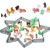 Newin Star Mini Tiere, 32 Stück Wilde Tiere Spielzeug mit Zaun Mini Tierfiguren Set Kinder Geburtstagsgeschenk Pädagogisches Spielzeug
