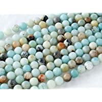 Beads Ok, DIY, Golden Amazonite Jaspe, Véritable, Naturel, 8mm, Perle en Pierre Semi-précieuse, Ronde, Environ 38cm Un Fil. (Golden Amazonite Jasper, Genuine, Natural, Plain Round Bead)