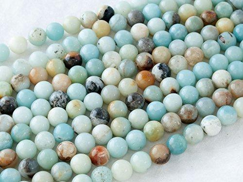 Beads Ok, DIY, Satinato Dorato Amazonite Jasper / Frosted or Matt Golden Amazonite Jasper, Naturale, 4, 6, 8, 10, 12mm, Perlina Tondo Liscio / Plain Round Bead, Circa 38cm un Filo.