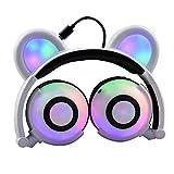 Bärenkopfhörer, wiederaufladbare Niedliche Bären-Ohr-Kopfhörer mit LED- blinkenden glühenden Lichter Faltbar über Ohr-Cos-Spiel Fantastische Kopfhörer für PC, Laptop, iPhone, iPod, MP3, MP4, Spiel und androides Telefon (Weiß)