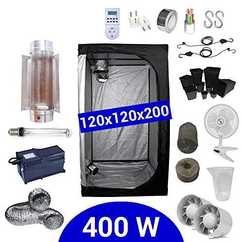 Growbox Komplettset 400 Watt HPS Cooltube Protube 120x120x200 cm - Vorschaltgerät ETI 2 (Grow Hps Kit)