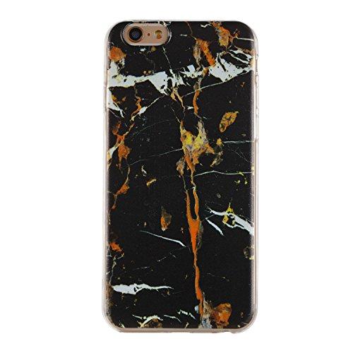 Custodia iPhone 6 Plus, iPhone 6S Plus Cover Silicone, SainCat Cover per iPhone 6/6S Plus Custodia Silicone Morbido, 3D Design Ultra Slim Transparent Silicone Case Ultra Sottile Morbida Transparent TP Marmo Nero