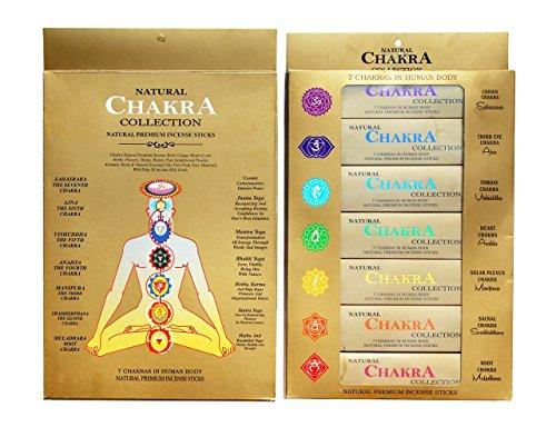 GJ BOON Kollektion Natural Chakra Räucherstäbchen Geschenk Pack. Hand gerollt Räucherstäbchen Sieben Chakren -