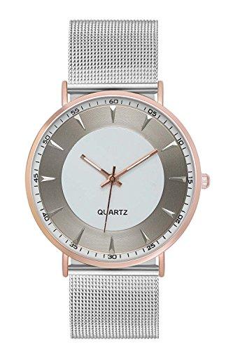 New Trend Unisex Armbanduhr Damen-Uhr Herren-Uhr, Analog Display, Quarzwerk, Leder-Armband, Metall-Armband, Chronograph-Optik, mit Dornschließe