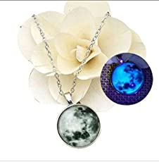 Grab Classy - Large Glow in Dark Moon Pendant/Necklace