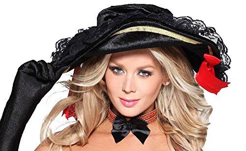 shoperama Piratenhut mit Spitze für Piratin Damen-Kostüm Samt Fasching Karneval - Piraten Der Karibik Kostüm Damen