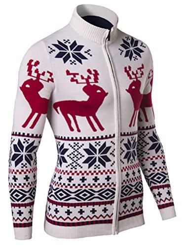 Voguees Herren Knit fawn Muster Weihnachten Strickjacke Strickwaren Pullover Aprikose-1