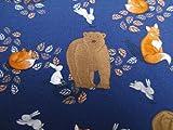 Glünz 0,5m Jersey Bär und Fuchs/dunkelblau / Kinderstoff / 16,50€/m