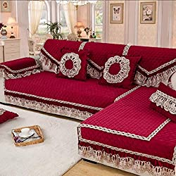 ZCM Serviette de canapé,Housse de siège en Tissu Stretch de Style européen Moelleux de Style européen Rouge AS-5(Une pièce) (Taille : 110 * 240cm)