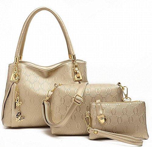 Geprägte Handtaschen Schultertasche Umhängetasche Mode Kaufen Eins Bekommen Drei Frauen Taschen , Gold (Geprägte Mode Handtasche)