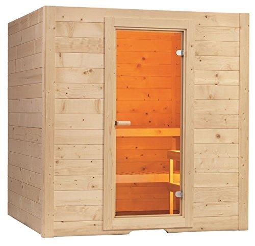 Massivholzsauna Basic 195 x 187 x 204 mit Saunaofen + Steuerung Combi Sauna Bio