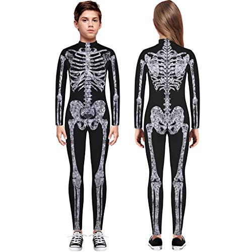 Dasongff Skelett Overall Kinder Mädchen Jungen Baby Knochen Skeleton Halloween Kostüm Bodysuit Anzug Karneval Fasching (Halloween Geburt Kostüm)