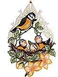 wunderschönes Fensterbild 22x32 cm + Saugnapf PLAUENER SPITZE ® Meisennest Vogel mit VOGELBABYS und Blüten Spitzenbild Frühling Sommer