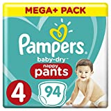 Pampers Baby-Dry 94 Nappy Pants, Easy-On with Air Channels for Up to 12 Hours of Breathable Dryness, Size 4, 9-15 kg
