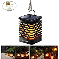 Outdoor Warm White Hanging Solar Powered Lights, Waterproof Dancing Flame Night Light Lighting with Auto Sensor for Garden Patio Yard Landscape Fence Street Backyard Walkway