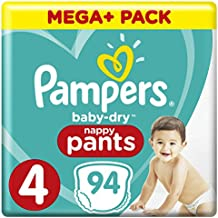 PAMPERS Baby-Dry Pants tamaño 4, con canales de aire, 94 unidades)