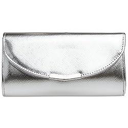 Klassisch elegante Abendtasche mit kleiner Metallspange und optimaler Größe. Mit dieser Clutch beweisen Sie Stil und Klasse. Der unaufdringliche Style erhält eine besondere Note durch das hochwertige Kunstleder mit teilweise metallisch glänzender ode...