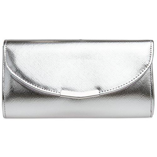CASPAR TA360 Bolso de Mano Fiesta Elegante para Mujer/Clutch con Cadena Larga, Color:plata;Tamaño:...